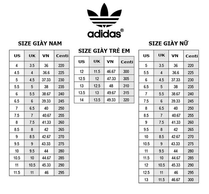 Hướng dẫn chọn size giày Adidas