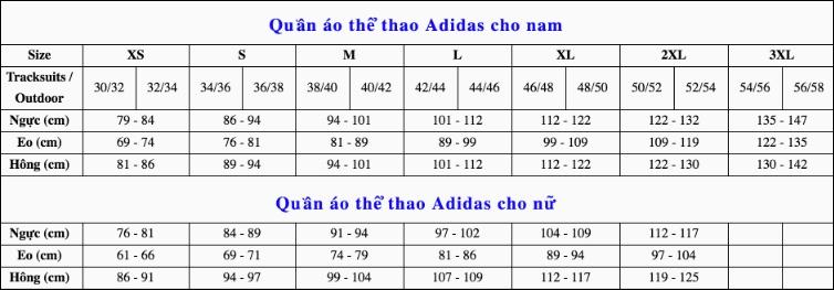 Hướng dẫn chọn size áo Adidas